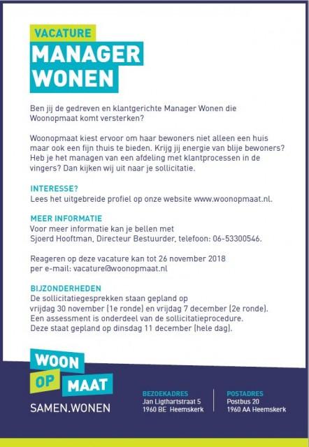 Vacature Manager Wonen